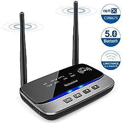 Récepteur Émetteur Bluetooth 5.0,3-en-1 Adaptateur Audio Sans Fil Bluetooth avec NFC,aptX HD et aptX LL(Basse Latence),262ft Extra Longue Portée,Double Appariement,pour TV,PC,Audio de Voiture,etc.