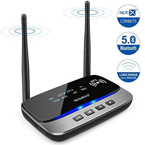 Bluetooth 5.0 Transmitter Empfänge,3-in-1-Wireless-Bluetooth-Audio-Adapter mit NFC,aptX HD&aptX LL(Niedrige Latenzzeit),262ft Extra Lange Reichweite,Doppel-Pairing,für TV,PC,Musik-Soundsystem,etc