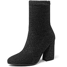 HAOLIEQUAN Zapatos para Mujer Botas Cuadradas De Tacón Alto Botas De Calcetín De Invierno Punta Estrecha