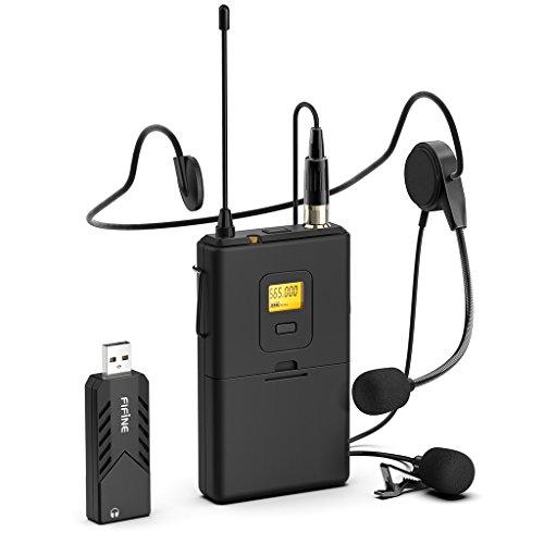 Kabellose Mikrofone für Computer, kabelloses USB-Mikrofonsystem für PC und Mac, Headset UHF Wireless System mit USB-Empfänger, Sender, Headset und Clip Lavalier-Mikrofon (K031B)