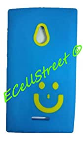 Nokia XL Soft Back Case Cover Back Cover Imported Smiley Yellow In Blue -ECellStreet