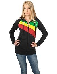URBAN CLASSICS Ladies 3 Color Jersey Ziphoody TB467 black/rasta XL