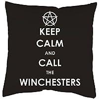 Supernatural Kissen mit Print Keep Calm and call the WInchesters Kissenbezug 40x40 cm Kissenhülle mit oder ohne Füllung