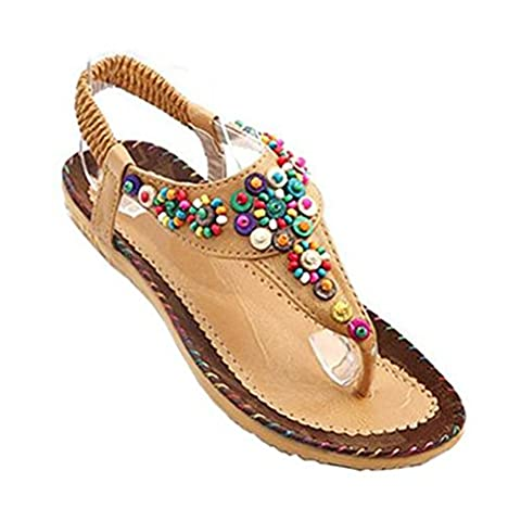 Donalworld Femmes Summer Beach Chaussures Bohemian perlée T Strap Tongs Wedges Femme Sandales Beige Asie Taille