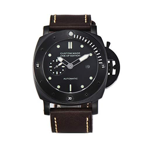 PARNIS-MM 9510 deutsche Edition Herrenuhr Automatik-Uhr 47mm PVD-Edelstahl Drehlünette Leder Mineralglas 5BAR Seagull Uhrwerk mit Datumsanzeige