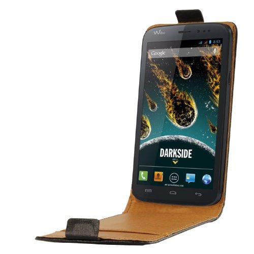 So'Axess SCP10126 Leder Schutzhülle mit Display-Flappe für Wiko Darkside schwarz