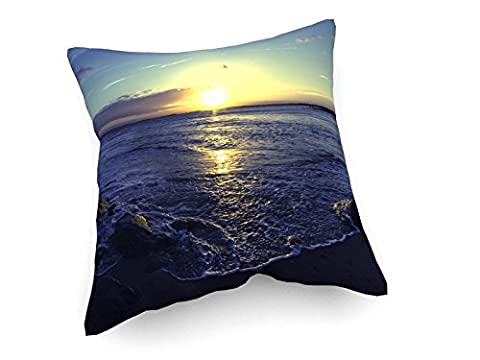 Coucher de soleil à la plage - 40x40 cm - Canapé coussins - art, image, peinture, photo - Campagne