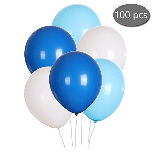 SMARCY Ballons Déco Mariage Ballons de Baudruche pour la Décoration de Saint Valentin Anniversaire 100pcs (Blanc + Bleu Clair + Bleu Foncé)