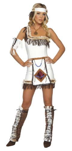 Indianerin Kostüm 5teilig - braun/weiß - XS/S (Adult Indian Chief Kostüm)