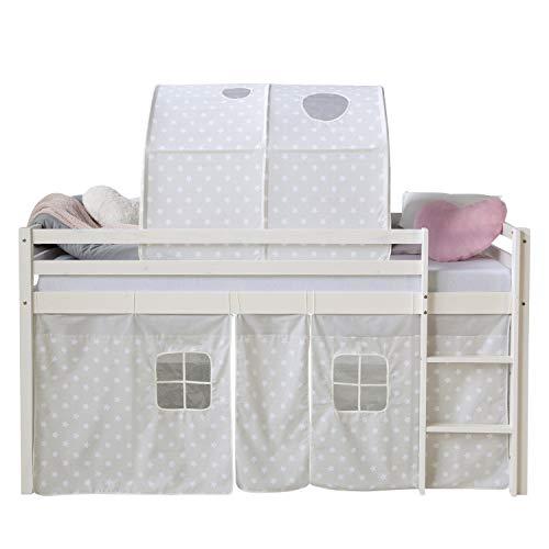 Homestyle4u 1889, Hochbett Weiß 90x200 Kinder, Vorhang mit Sterne und Tunnel, Holz -