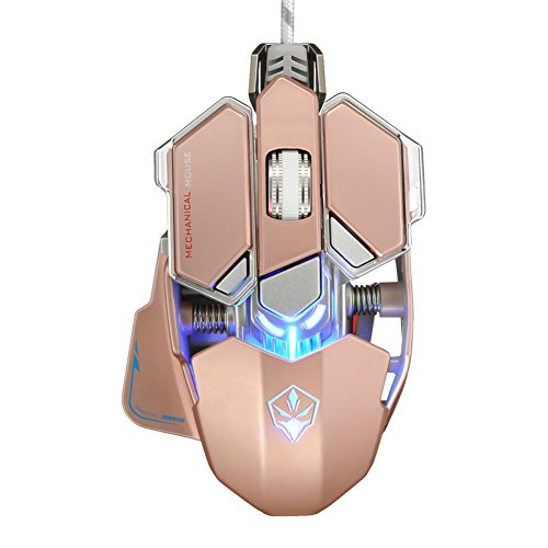 Icegrey 4000 DPI 10 Tasten USB Wired Gaming Maus für Pro Gamer Rose Gold (Rad-schlüssel (wired Mouse)