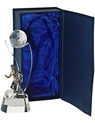 """Trophée En Verre Football, Trophée """"Football Star"""", transparent, Collection """"Pokal"""" , H= 17 cm, livré dans un écrin cadeau, verre, style moderne (FAN UNIKATE powered by CRISTALICA)"""