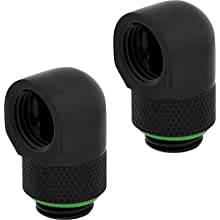 Corsair Hydro X Series, 90 Degree Rotary Adapter, Twin Pack (G1/4 BSPP Port Threads, Solid Brass Durability, Secure Rotation Mechanism, Quality Polished Finish, Optimised for High Flow Rates), Black