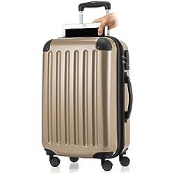 HAUPTSTADTKOFFER - Alex- Bagage à main cabine, Trolley rigide extensible avec Compartiment pour ordinateur portablel, TSA, 55 cm, 42 L, Champagne