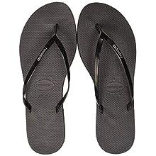 Havaianas Women's Metallic Flip Flops, Black, 6/7 UK