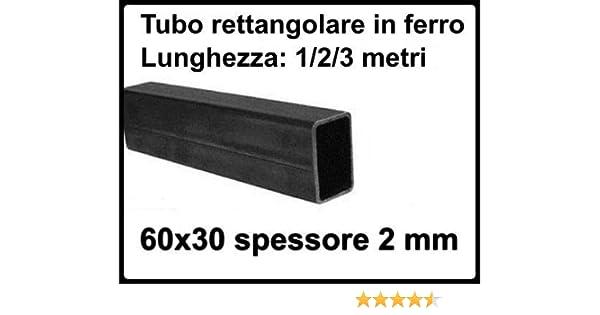 2 metri Tubo rettangolare in ferro liscio scatolato 60x30 di spessore 2 mm