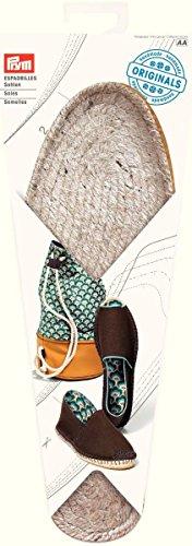 Prym Espadrilles-Sohlen Größe 42 Schuhsohle, Jute/Gummi, Natur, 26x10x2 cm, 2-Einheiten