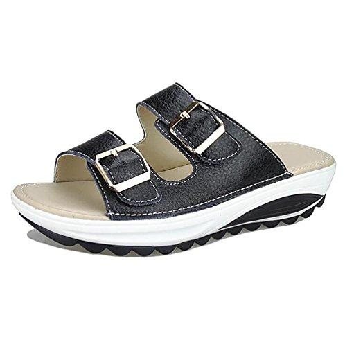 4b64420a9f2c0 Flip Flops SHANGXIAN Women's Beach Genuine Leather Low Heel Sandals, black,  38