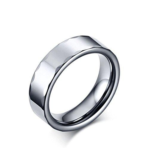 Beglie Unisex Herrenring Aus Wolfram 6MM Poliert mit Welle Rand Bandring für Männer Silber Trauringe Verlobungsring Hochzeit Ring mit Gratis Gravur Größe 55 (17.5)