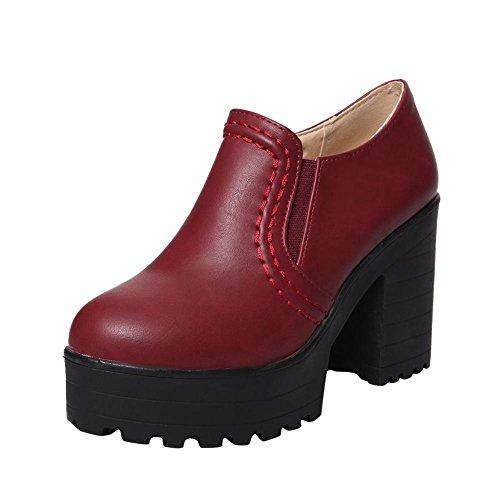 ad4b715a28f68f Mee Shoes Damen bequem modern populär runder toe Geschlossen dicker Absatz  Plateau Pumps Weinrot