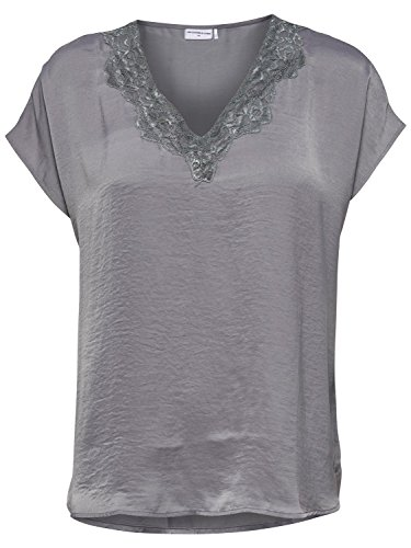 JDY Ladies Grey Satin Shine Short Sleeve Lace Trim V Neck Relaxed T-Shirt