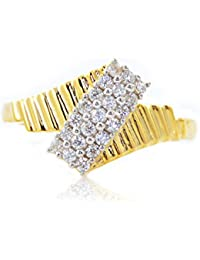 Silver Dew Pure 925 Sterling Silver 14K Yellow Gold Plated Cluster Ring Special Valentine`s Day For Lovely Lady... - B078M5ZX8W