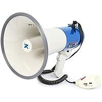 Vexus MEG065 Profi Megafon lautes 65 Watt Megaphone mit Akku-Betrieb (Aufnahme-Funktion, MP3-fähiger USB- und SD-Speicher, AUX, Sirene, Umhänge-Gurt) blau-weiß