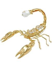 Articles en cristal Décoration Figurines Scorpion plaqué or cristaux brillants 90 x 60 mm