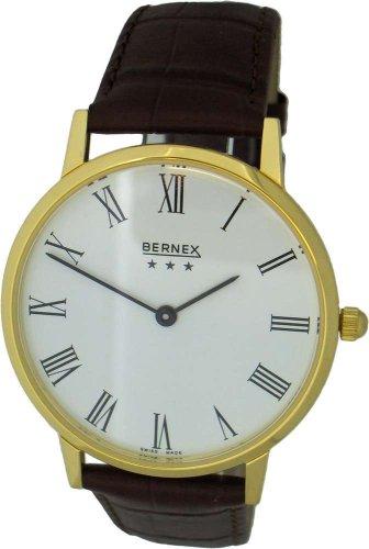 Bernex Swiss Made Gents Gold Plate Brown Strap Quartz Wrist Watch