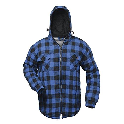 Thermohemd Arbeitshemd Arbeitsjacke blau/schwarz kariert und gefüttert mit Kapuze – Craftland – S-3XL Blau/Schwarz