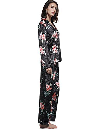 ... Blooming Jelly Damen Pyjama Set Samt Zweiteiliger Schlafanzug 2 Pieces  Sleepwear Night Shirt and Pants Set ...