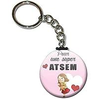 Pour une super ATSEM Porte clés chaînette 38mm ( Idée Cadeau Fin d'année Scolaire École Noël Remerciement )