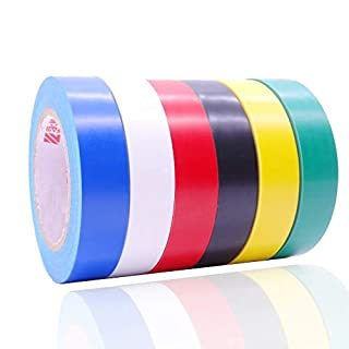 Maveek 6 Pack Mixed Colour Electrical Insulation Tape Adhesive Gaffer Tape