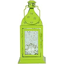 PAME 29649 - Farol de metal, 27 x 12 x 12 cm, color verde