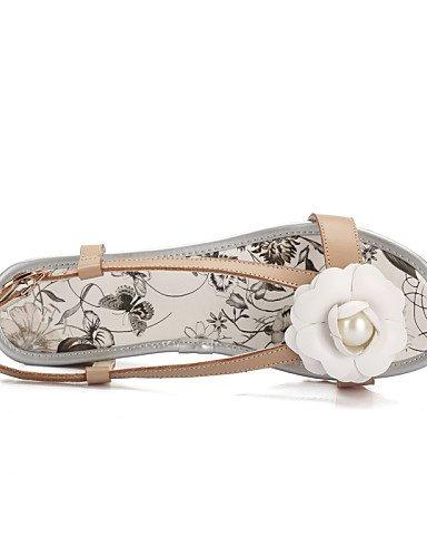 LFNLYX Scarpe Donna-Sandali-Ufficio e lavoro / Formale / Casual-Zeppe / Spuntate-Zeppa-Finta pelle-Bianco / Tessuto almond White