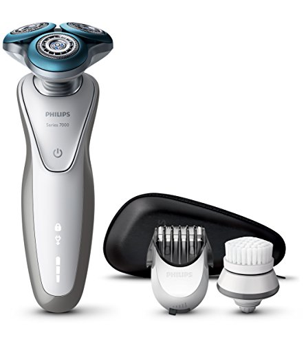 Philips Serie 7000 S7530/50 - Afeitadora Eléctrica para Hombre Rotativa, Recortador de Barba, Cepillo de Limpieza Estuche de Viaje, Pieles Sensibles, Blanco