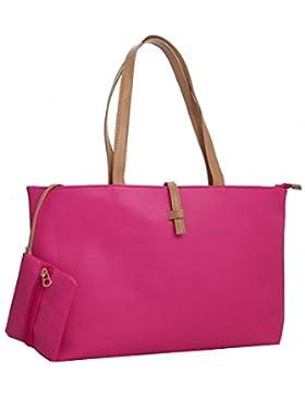 Picus & Bags - Stylische Damen Henkeltasche Shopper in Schwarz Weiss Pink Cognac-Orange vegan Kunstleder