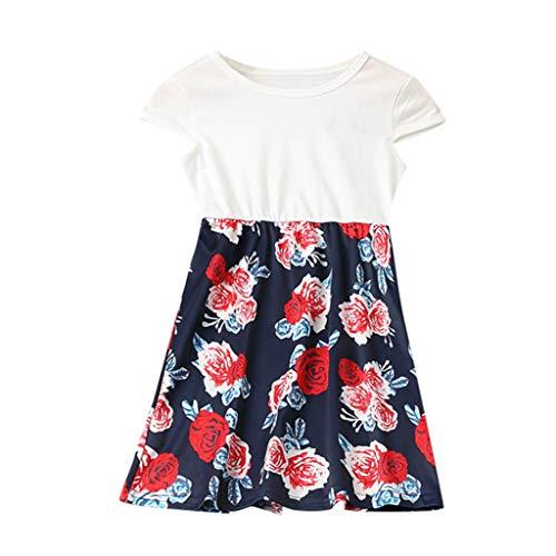 squarex Mommy & Me Summer O-Neck ärmelloses Kleid für Frauen mit Blumendruck Familie Kleidung Eltern-Kind-Kleidung -