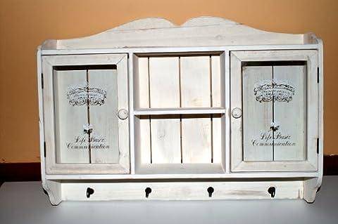 Armoire murale vaisselier en bois blanc 2 portes vitrées fermeture