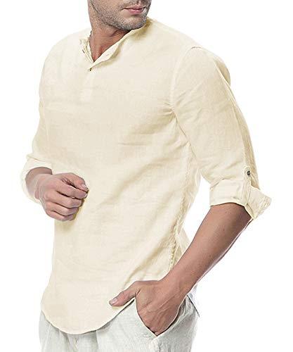 Pxmoda Herren Henley Leinenhemd Roll-up Sleeve & Kurzarm Freizeithemd Casual Sommer Men Shirts, A - Beige, L (Herstellergrösse: 0L) L A - Beige -
