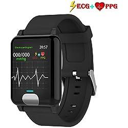 ISWIM Pulsera de Actividad Inteligente ECG&PPG Pantalla a Color Impermeable IP67 Pulsómetro (Negro)