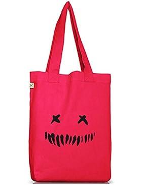 Shirtstreet24, Halloween - Horror Face, Jutebeutel Stoff Tasche Earth Positive