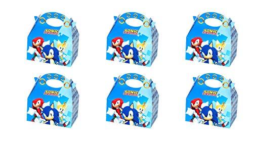 ALMACENESADAN 0654, Pack 6 cajitas de Carton para chuches Sonic, para Fiestas y cumpleaños