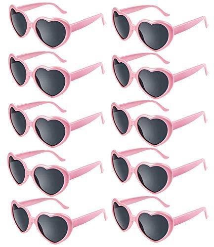 Fsmiling 10 stück Neon Farben Herzform Party Sonnenbrillen Set für Kinder Damen (Rosa)