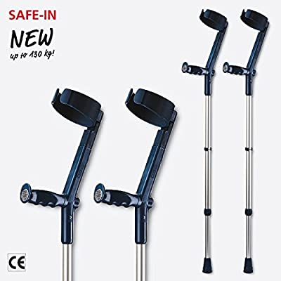 Rebotec Safe In Crutches (Pair), Colour: Black