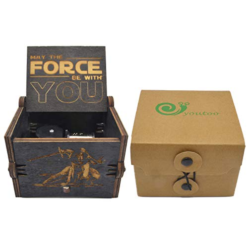 youtoo Retro Madera Parte reloj mano clásico Manivela Caja de música para regalos Talla:Star Wars Melodie (Mechanisches Uhrwerk)
