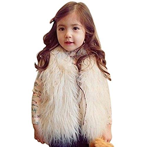 MisShow Mädchen Kinder Herbst Winter Fellweste Ärmellose Weste Pelzweste starker Mantel warme Outwear Elfenbein 130CM 7-8Jahr (Weste Elfenbein)