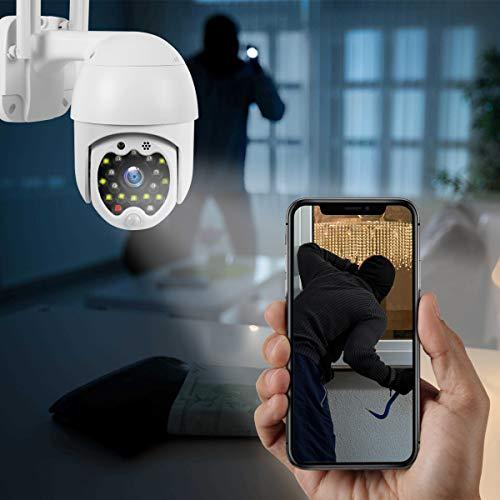 Überwachungskamera Aussen WLAN 1080P Dome IP Kamera PTZ mit Ton/Licht Einschüchterung Zwei-Wege-Audio Nachtsicht Bewegungserkennung Alarm