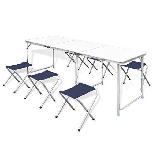 vidaXL Campingtisch 6 Falthocker 180x60cm Koffertisch Gartentisch Campingmöbel - Picknick-tisch