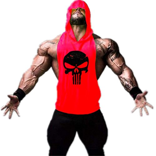 YeeHoo Kapuzenshirt Skull Stringer Tank Top Herren mit Kapuze Bodybuilding Fitness Gym Sport Hemd Weste (Animal Fitness)